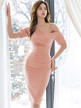 Inclined Shoulder Pleated Bandage Dress