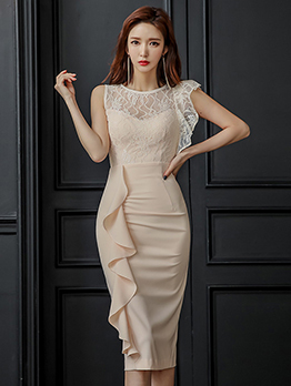 Lace Patchwork Ruffle Fitted Dresses