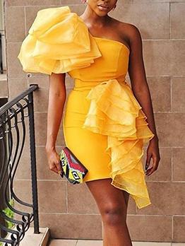 Solid Characteristic Slim Slant Shoulder Fitted Bandage Dresses