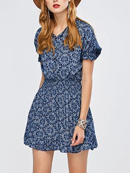 V Neck Ceramic Printing Short Sleeves Dresses