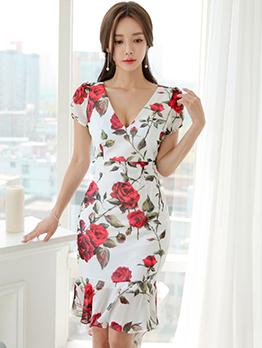 Elegant Fishtail Fitted Flower Print Dress