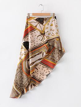 Summer Printed Irregular High Waist Skirt