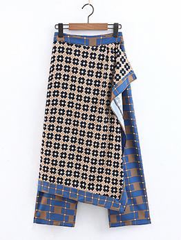 Fashionable Plaid Irregular Lady Skirt Pants