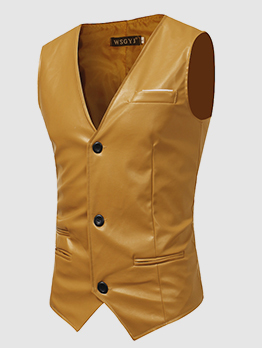Solid Single-Breasted Sleeveless Leather Blazers For Mens