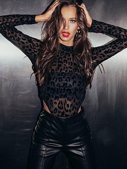 Hot Sale Leopard Printed High Neck Black Bodysuits