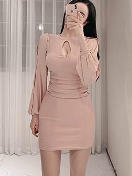 Knitted Patchwork Chiffon Bodycon Dress