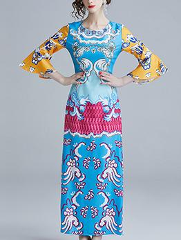 Color Block Flare Sleeve Print Maxi Dress
