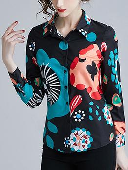 Spring Turndown Neck Print Trendy Shirts
