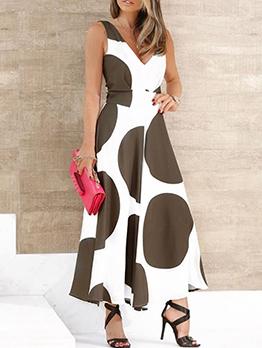 Casual Dot Sleeveless V Neck Dresses