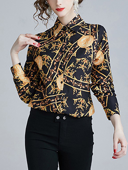Euro Style Printed Turndown Collar Blouse