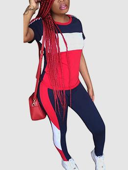 Crew Neck Contrast Color Activewear For Women