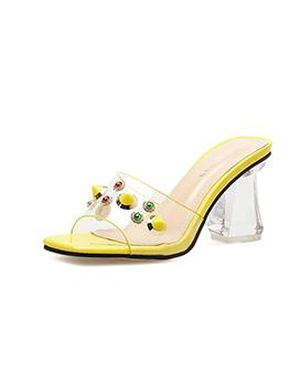 Korean Design Multi-Color Diamond Heeled Slippers