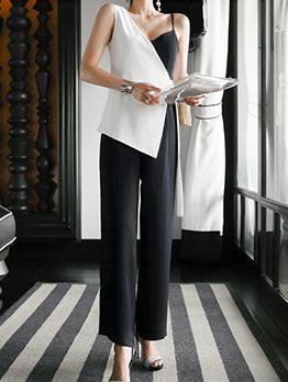 Striped Contrast Color V Neck Jumpsuits