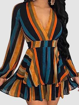 Secy Plunging V Neck Striped Long Sleeve Short Dresses