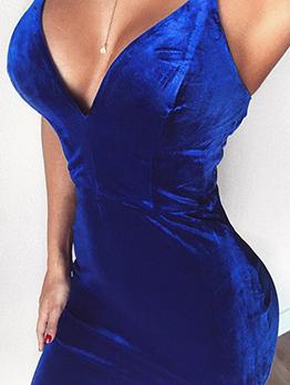 Euro V-Neck Straps Velvet Solid Women Dresses