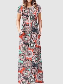 Vintage Printed Crew Neck Loose Maxi Dresses