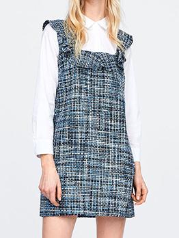 Turndown Neck Patchwork Ruffles Short Dress