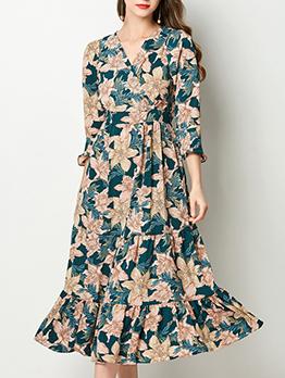 Beach Floral Flare Sleeve Midi Dress