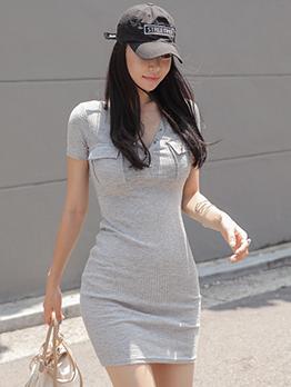V Neck Light Gray Bodycon Mini Dress