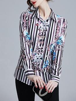 Fashion Striped Geometric Print Shirts
