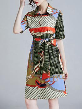 Elegant Printed Button Up Tie-wrap Shirt Dress