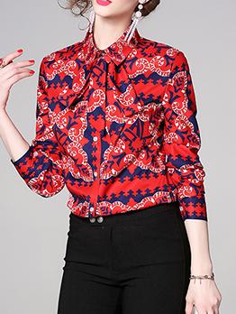 European Style Geometric Print Slim Red Shirts