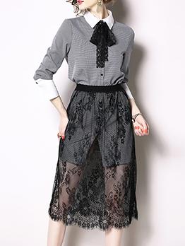 Fashion Cold Color Lace Gauze Dresses Suits