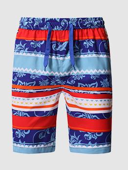 Casual Printed Drawstring Beach Half Pants