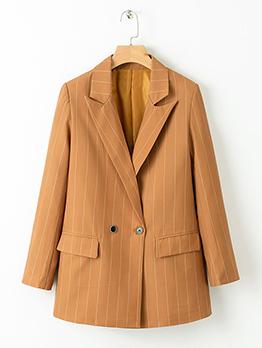 Striped Lapel Buttons Wholesale Women Blazers