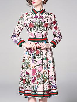 Floral Turndown Collar Elegant Dresses