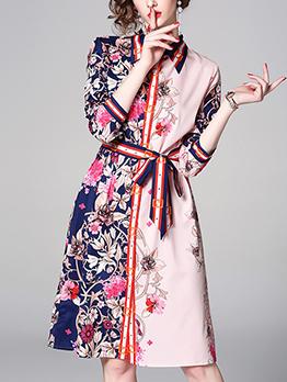 Floral Tie-wrap Flowers Turndown Collar Shirt Dress