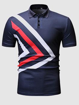 Contrast Color Turndown Neck Men Polo Shirt
