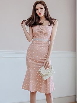 Polka Dot Patchwork Lace Detail Bodycon Dress