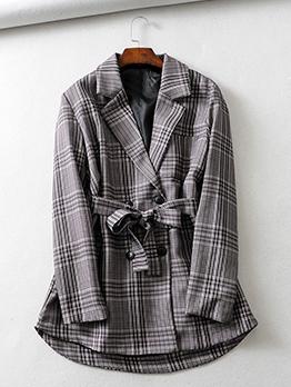 Spring Plaid Lapel Binding Gray Women Blazers