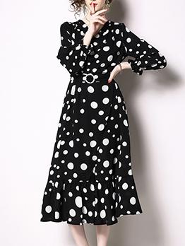 Dots V Neck Ruffle Hem Classy Dresses