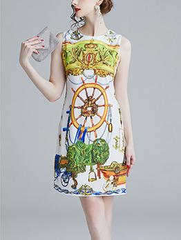 Fashion Crew Neck Sleeveless Print Dress