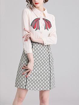 Fashion Printed Patchwork Turndown Collar Ladies Dress
