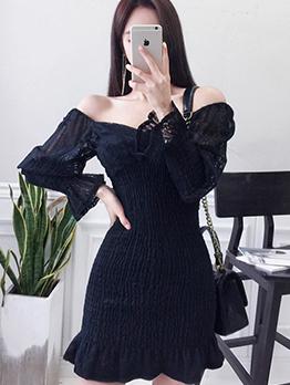 Lace V Neck Off The Shoulder Dress