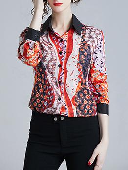 Turndown Neck Floral Fashion Woman Blouse