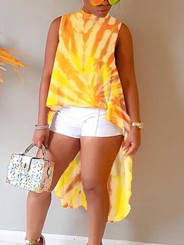 Dovetail Hem Sleeveless T-shirt Printing