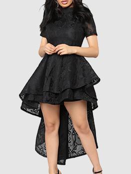 Solid Mock Neck Asymmetrical Hem Sheer Maxi Dresses