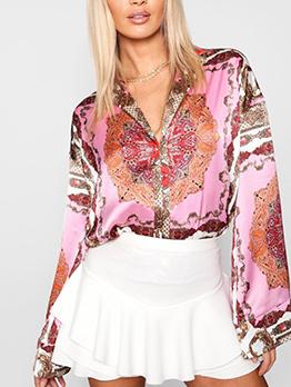 Vintage Warm Color Long Sleeve Cozy Blouses
