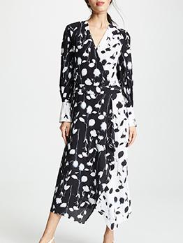 Fashion Flower Print Patchwork Wrap Maxi Dresses