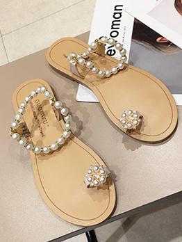 Simple Design Pearl Toe Ring Women Sandals