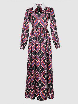 Vintage Print Turndown Neck Boutique Maxi Dress