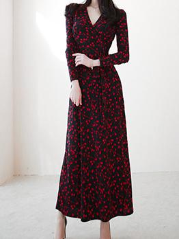 Vintage Printing V Neck Slit Maxi Dresses