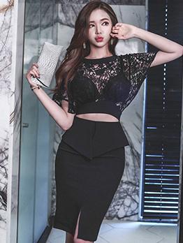 Lace Patchwork Bodycon Black Dress