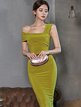 Elegant Inclined Shoulder Sleeveless Bodycon Dress