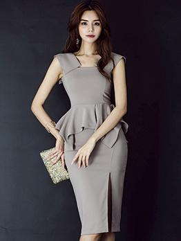 OL Style Bodycon Gray Peplum Dress