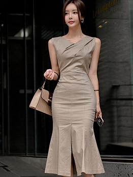 Simple Design V Neck Slit Ladies Dress